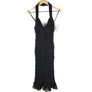 NWT Cache Black Rouched Halter Dress Sz XS